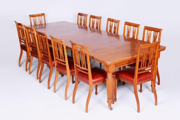 19th Century British Satin Wood Dining, Dining Room Set Maple