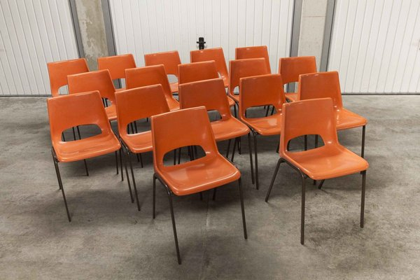 Vintage Orange Dining Chairs 1970s Set Of 17 For Sale At Pamono