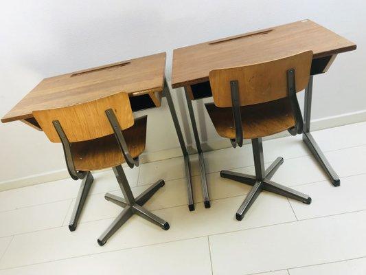 Vintage Dutch School Wooden Desks And, Vintage Wooden School Desk And Chair