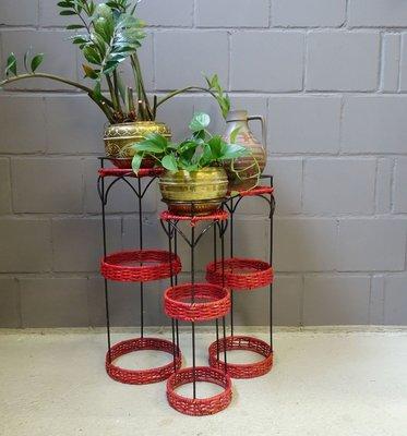 support pour plante en metal noir et rotin rouge 1970s set de 3