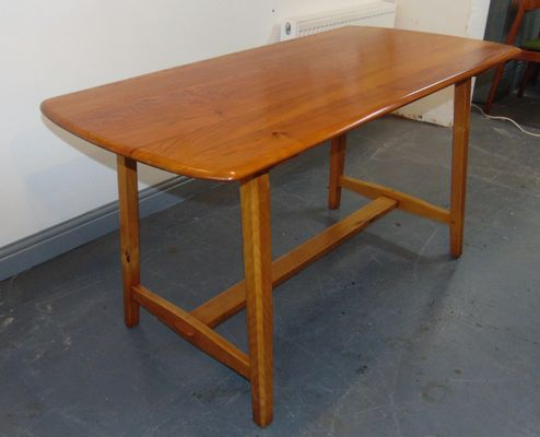 Elm Trestle Dining Table From Ercol,1950s 1