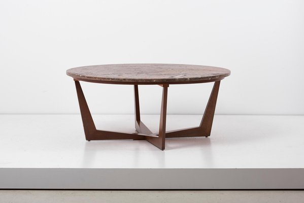 German Fossil Stone Top Coffee Table By Roland Schmidt 1970s For Sale At Pamono
