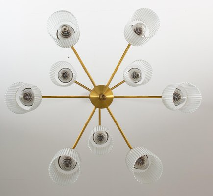Swedish Chandelier in Brass & Glass by Holger Johansson for Westal