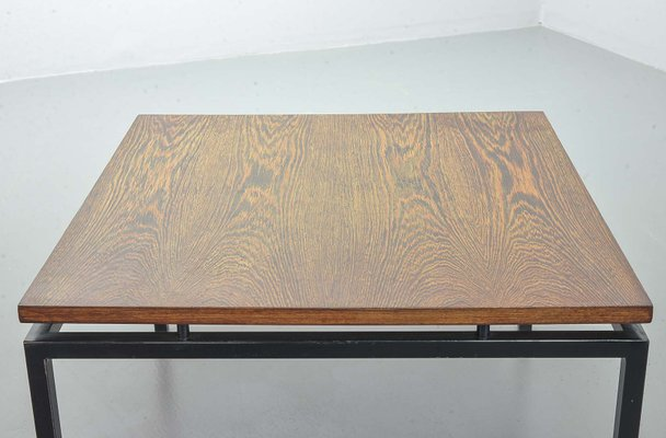 Dutch Minimalist Coffee Table With Steel Frame Wenge Wood Floating Top From Stiemsma 1950s For Sale At Pamono