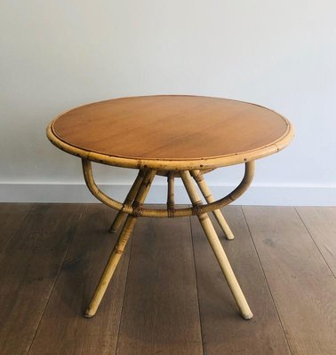 French Small Round Rattan Coffee Table, Rattan Coffee Table Round