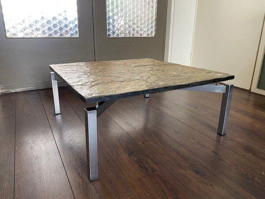 Mid Century Steel Slate Coffee Table Bei Pamono Kaufen