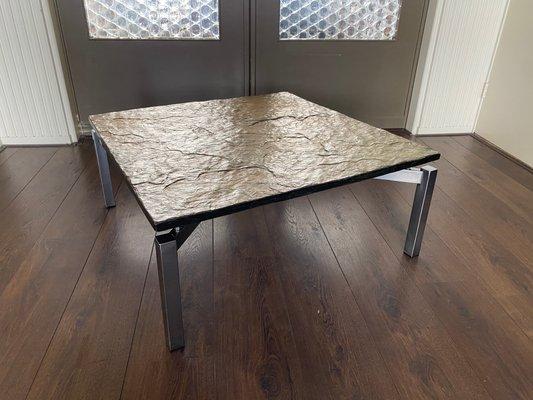 Mid Century Steel Slate Coffee Table For Sale At Pamono