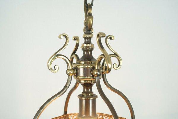 Vintage Brass 10 Light Chandelier, 1950s