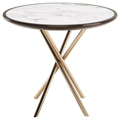 Round Side Table With Lacquered Marble Top Copper Stainless Legs For Sale At Pamono