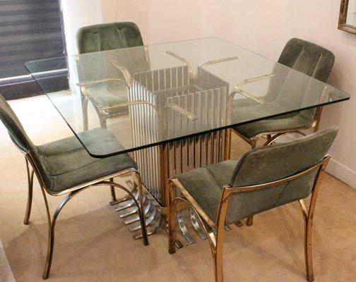 Esstisch Vier StühlenItalien1970 mit Glas StühlenItalien1970 Esstisch mit Glas Vier D9IW2HEY