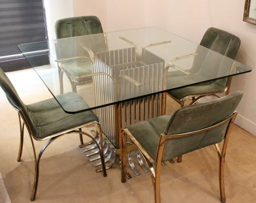 Italian Glass Dining Table With Four Chairs 1970