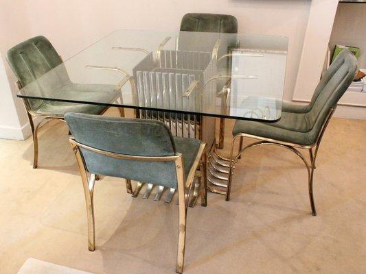 Tavolo da pranzo in vetro con 4 sedie, Italia, 1970