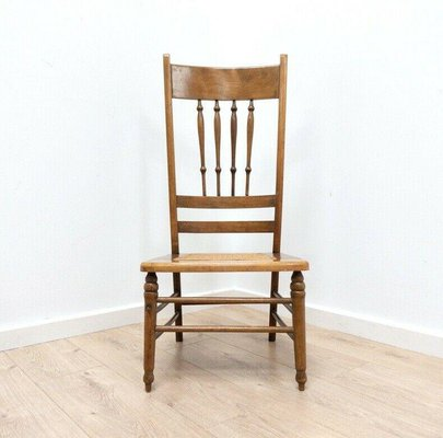Antique Arts Crafts Oak Occasional Chair With Woven Seat For Sale At Pamono