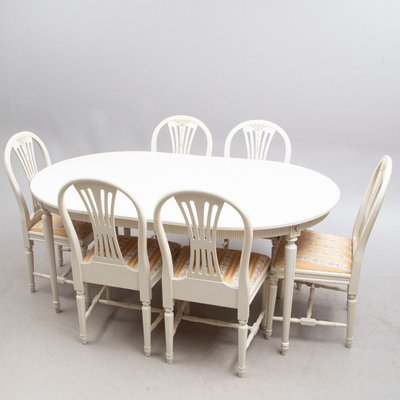 Gustavian Dining Table Chairs Set Set Of 7 For Sale At Pamono