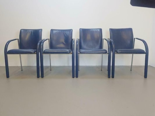 Vintage Blue Leather Cimarrone Dining Chairs From Leolux Set Of 4 Bei Pamono Kaufen