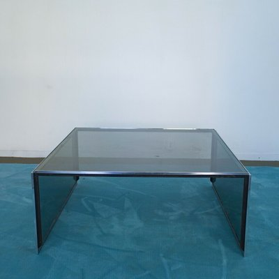 Vintage Chromed Steel Smoked Glass Coffee Table 1970s For Sale At Pamono