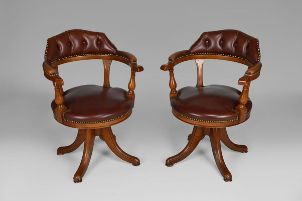 Vintage Chesterfield Style Wood And Leather Swivel Office Chairs Set Of 2 For Sale At Pamono