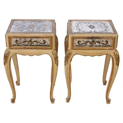 Eglomise Mirrored Bedside Tables 1940s, Narrow Mirrored Side Table
