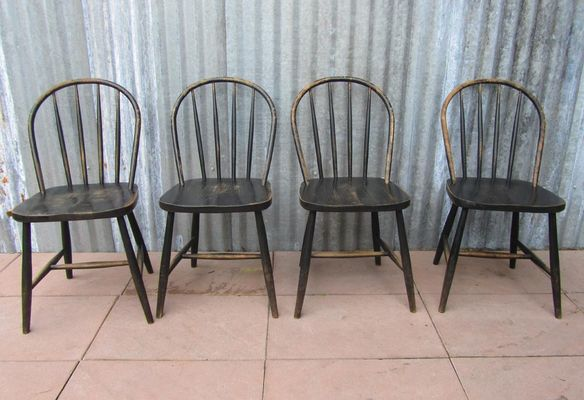 Vintage Wooden Bowback Dining Chairs Set of 4 1 : bow back chair - Cheerinfomania.Com