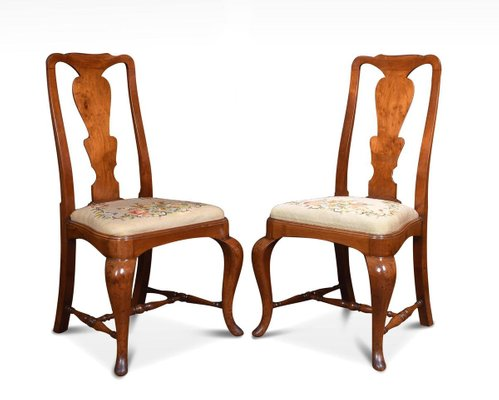 Antique Queen Anne High Back Dining Chairs Set Of 8 For Sale At Pamono