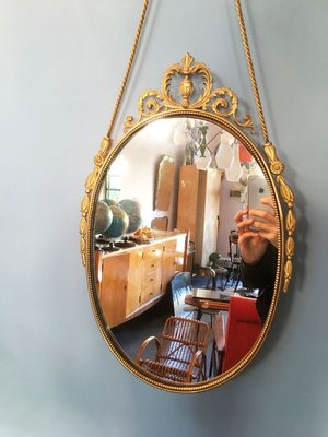 Vintage Oval Brass Mirror With, Vintage Brass Mirror Wall Hanging