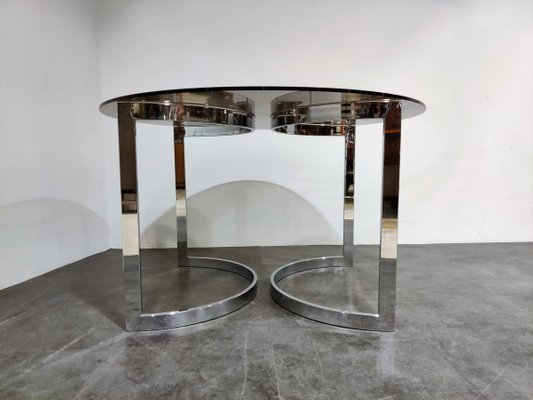 Chrome Smoked Glass Dining Table By Milo Baughman 1970s For Sale At Pamono