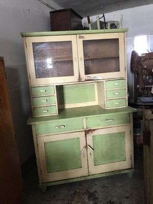 Painted Wood Kitchen Cupboard 1930s, Retro Wooden Kitchen Cabinets
