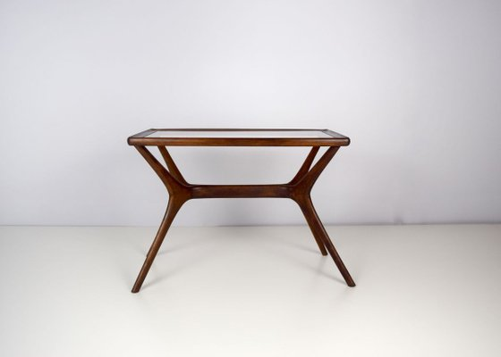 Mid Century Modern Coffee Table In Massive Wood Glass Italy 1950s For Sale At Pamono