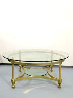 Round Brass Coffee Table With Glass Top And Shelf 1970s For Sale At Pamono