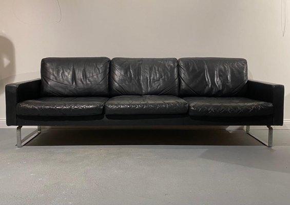 3 Seater Black Leather Sofa On Chromium, Black Leather Sofa