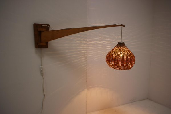 Mid Century Wood Adjustable Wall Light 1960s For Sale At Pamono