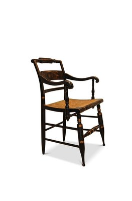 Armchair With Ebonised Frame Rush Seat By Lambert Hitchcock For Hitchcock Chair Company For Sale At Pamono
