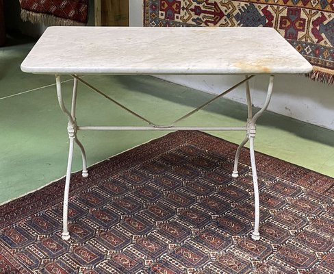 Vintage Marble Dining Table With Cast Iron Base Bei Pamono Kaufen
