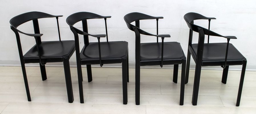 Postmodern Black Leather Dining Chairs, Black Wooden Dining Chairs Set Of 4