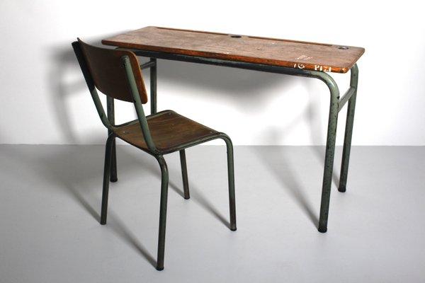 Bureau Et Chaise Vintage De Style Industriel 1940s Set De 2