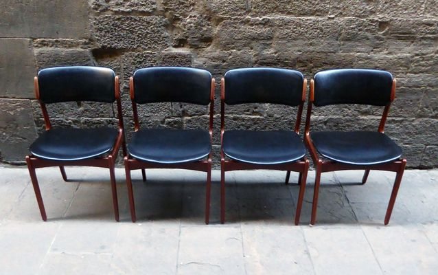 Midcentury Danish Dining Chairs With Black Leatherette, 1960s, Set Of 4 1