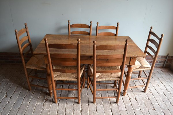 Antique Oak Dining Table Button Chairs Set Of 9 For Sale At Pamono