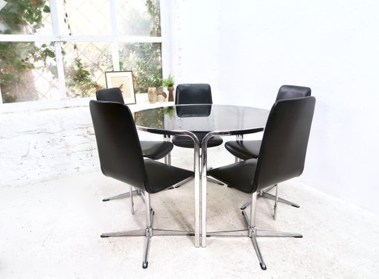 Mid Century Chrome Smoked Glass Dining Table By Gastone Rinaldi For Sale At Pamono