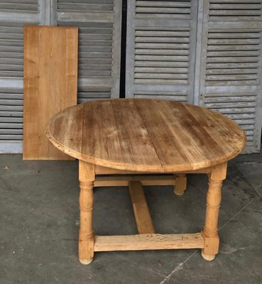 Round French Bleached Oak Farmhouse Table For Sale At Pamono