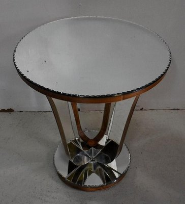 Small Mirrored Glass Walnut Side Table 1940s For Sale At Pamono