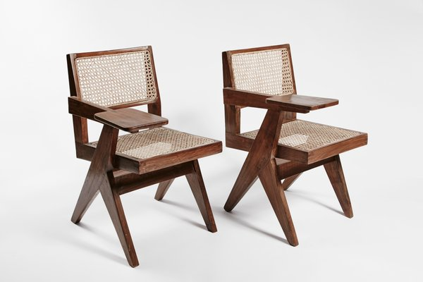 Teak And Wicker Desk Chairs By Pierre Jeanneret Set Of 2 The Exceptional