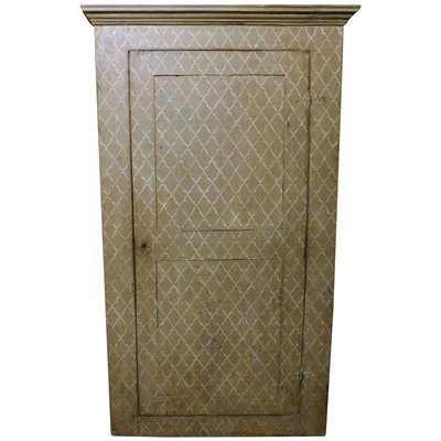 Antique Italian Wall Cabinet Placard In Gray Painted Wallpaper 1800s For Sale At Pamono