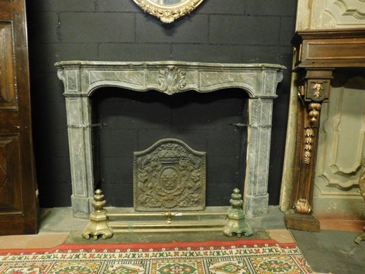 18th Century Italian Bardiglio Gray Marble Fireplace Mantel With Shells Bei Pamono Kaufen