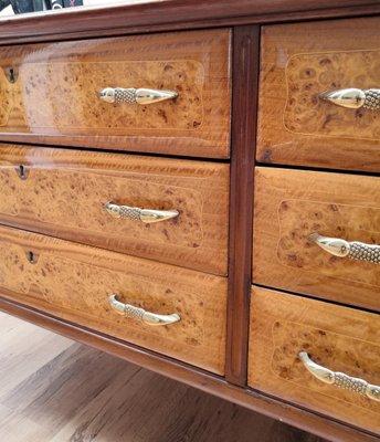 Mid Century Modern Italian Burl Wood Glass Brass Sideboard 1950s For Sale At Pamono