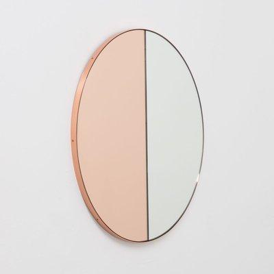 Silver Mixed Tint Round Large Mirror, Large Gold Frame Circular Mirror