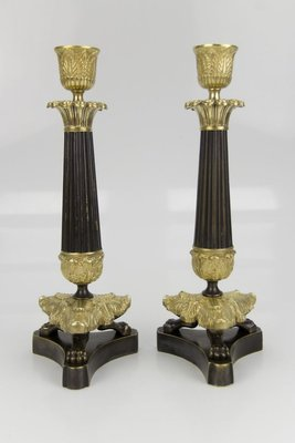 French Empire Style Bronze And Brass Candlesticks On Tripod Base Set Of 2 For Sale At Pamono