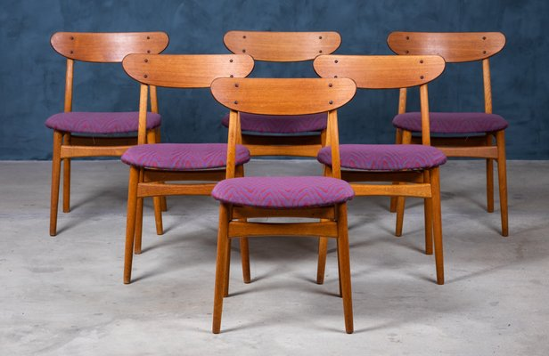 Mid Century Danish Teak And Oak Dining Chairs Set Of 6 For Sale At Pamono