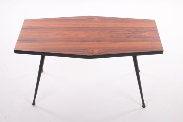 Rosewood Plant Table Or Side Table With Black Metal Legs For Sale At Pamono
