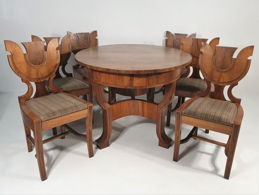 Art Deco Dining Table Chairs Set 1940s Set Of 7 For Sale At Pamono