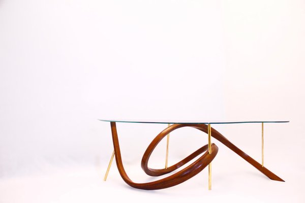 Bentwood Modern Coffee Table With Brass Element And Glass Top By Raka Studio Bei Pamono Kaufen
